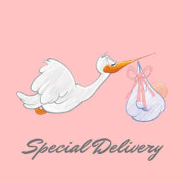 Special Delivery baby girl - Cake Card - postcake