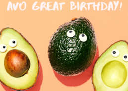 avocado avo great birthday - Cake Card - postcake